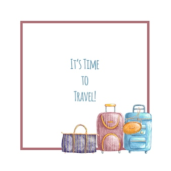 Hand drawn cute travel border with bags