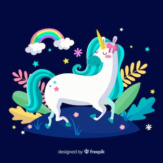 Hand drawn cute unicorn background