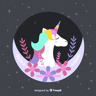 Hand drawn cute unicorn background