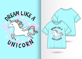 Hand drawn cute unicorn illustration with t shirt design