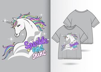 Нарисованная рукой милая иллюстрация единорога с дизайном футболки