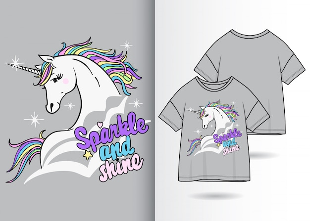Hand drawn cute unicorn illustration with t shirt design
