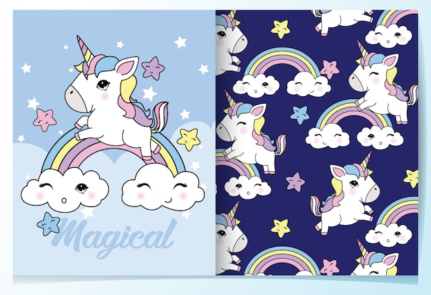 Hand drawn cute unicorn pattern set