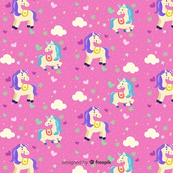 Hand drawn cute unicorn pattern