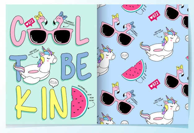 Hand drawn cute unicorn pool float seamless pattern