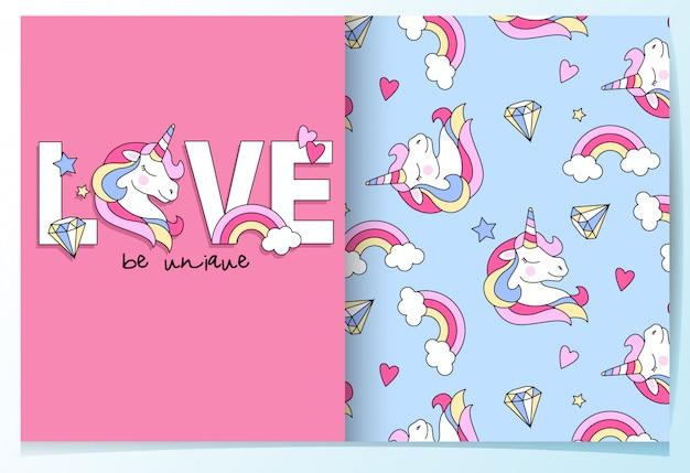 Hand drawn cute unicorn seamless pattern