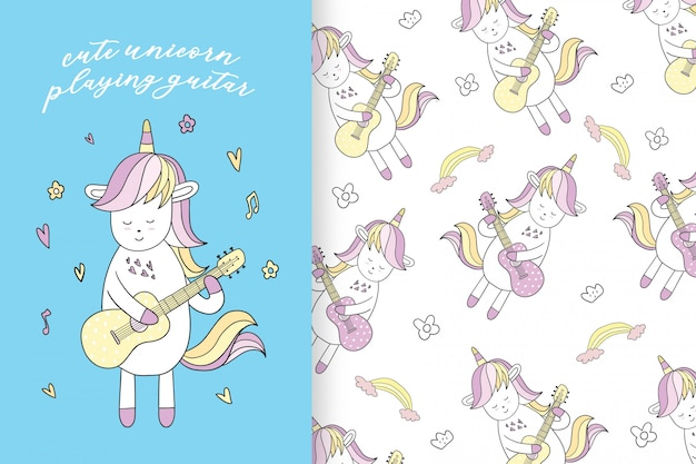 Hand drawn cute unicorn seamless pattern