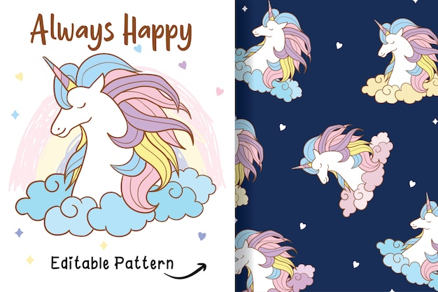 Hand drawn a cute unicorn with editable pattern