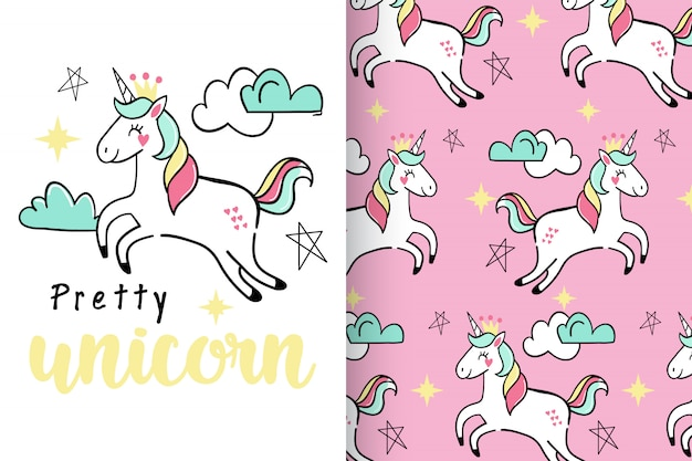 Hand drawn cute unicorn with pattern set