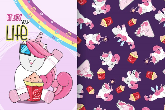 Hand drawn cute unicorn with pattern vector set-vector