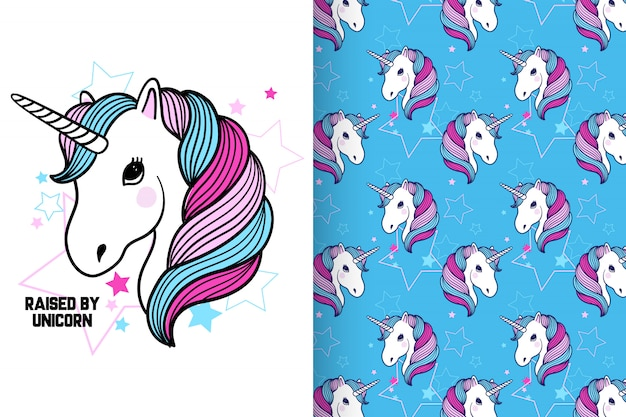 Hand drawn cute unicorn with pattern vector set