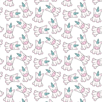 Hand drawn cute unicorn with pattern vector