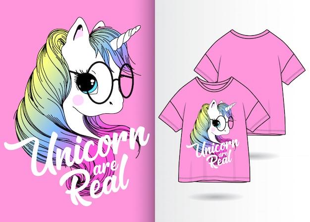 Hand drawn cute unicorn with t shirt