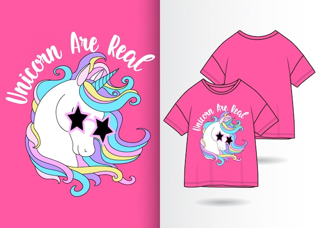 Hand drawn cute unicorn with tshirt