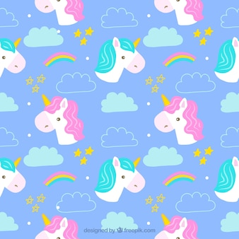 Hand drawn cute unicorns patterns