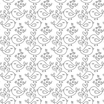 Hand drawn cute valentines day heart flourish and bird pattern.