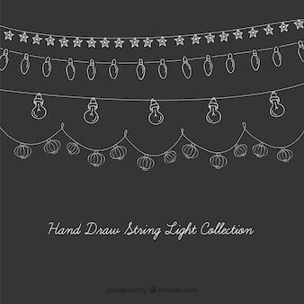 Hand drawn cute vintage string lights