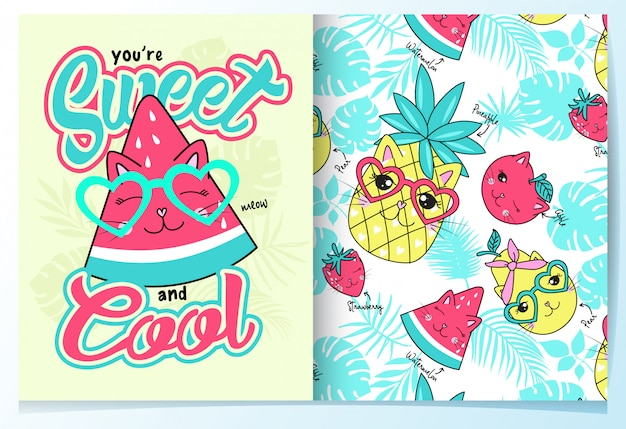 Hand drawn cute watermelon pattern set