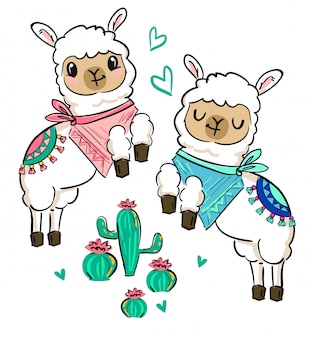 Hand drawn cute white llama with a scarf and cactus. print design for a children's theme.   illustration.