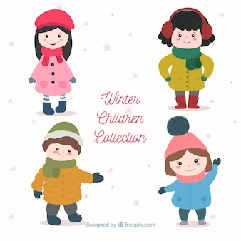 Hand drawn cute winter children collection