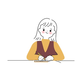 Hand drawn cute woman character writing on a notebook vector illustrations in doodle style