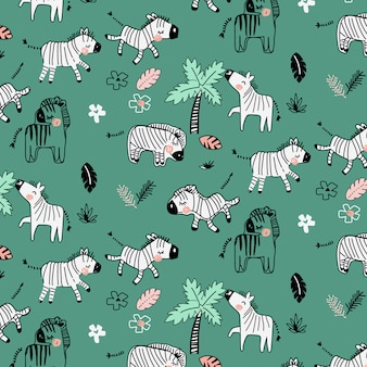 Hand drawn cute zebra pattern