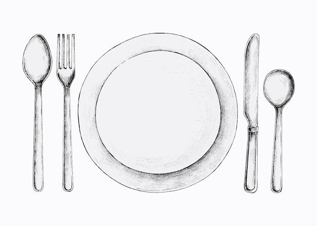 Hand drawn cutlery set