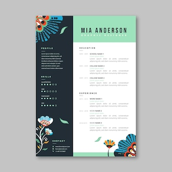Hand drawn cv template