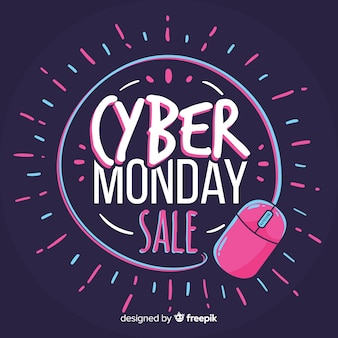 Hand drawn cyber monday composition
