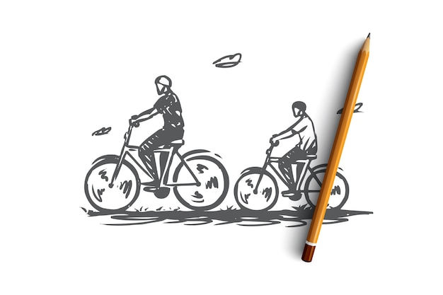 Hand drawn dad and son ride a bike together in nature concept sketch