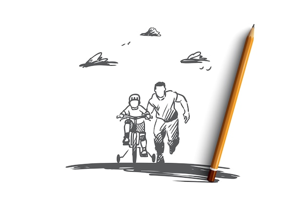 Hand drawn dad with son ride bicycles concept sketch
