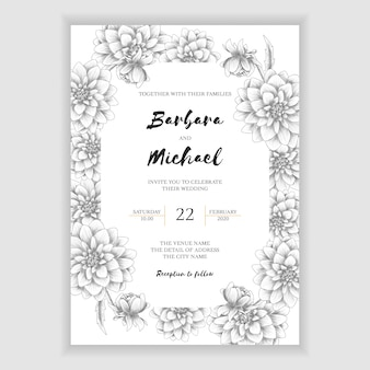 Hand drawn dahlia floral wedding invitation template