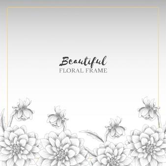 Hand drawn dahlia flower frame