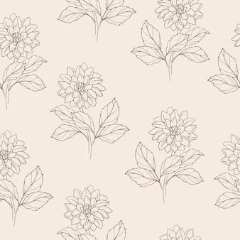 Ручной обращается цветок георгина бесшовный фон