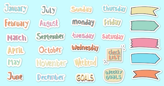 Hand drawn daily and monthly stickers planner Premium Vector