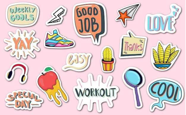 Hand drawn daily stickers planner