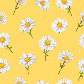 손으로 그린 된 데이지 꽃 원활한 패턴