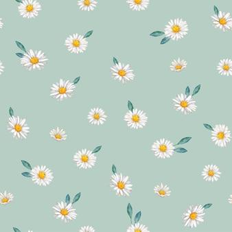 手描きのデイジーの花のシームレスなパターン
