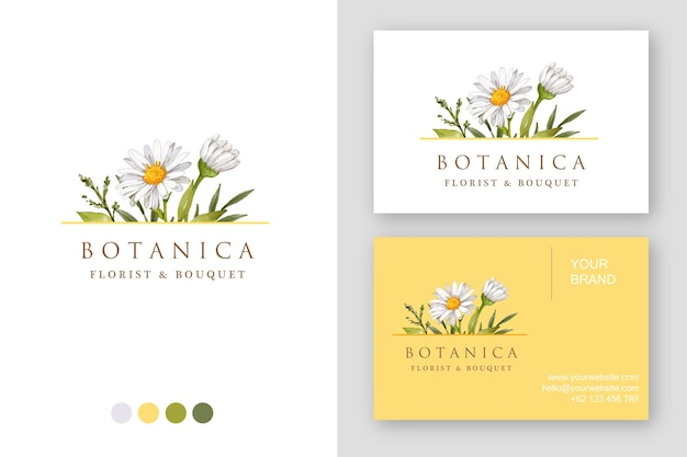 Hand drawn daisy logo design business card