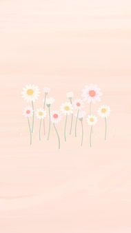 Hand drawn daisy mobile phone wallpaper