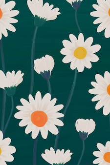 Hand drawn daisy patterned background