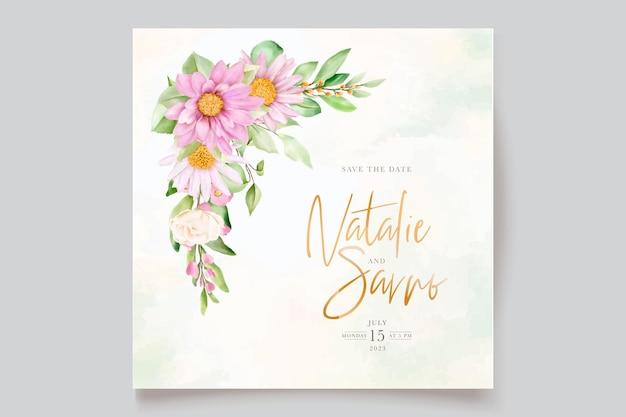 Рисованной ромашки акварель цветочные и листья набор пригласительных билетов