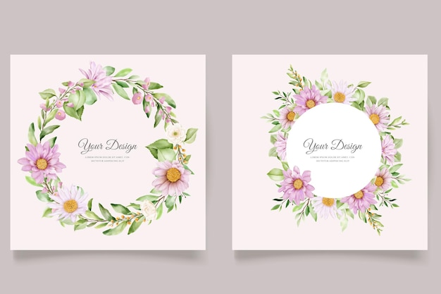 손으로 그린 데이지 수채화 꽃과 잎 초대 카드 세트