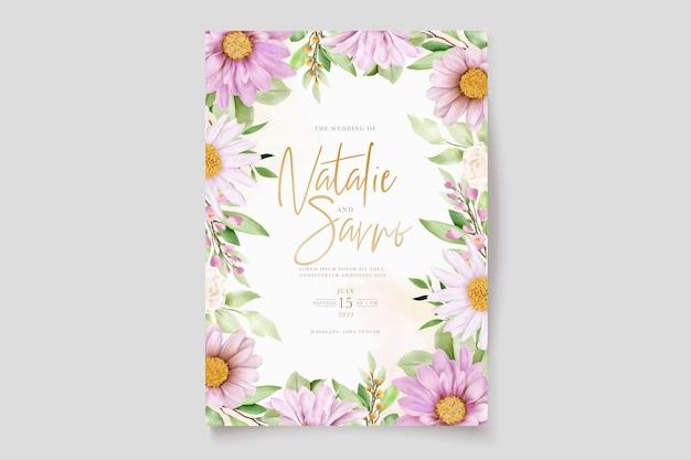 手描きのデイジー水彩花と葉の招待カードセット
