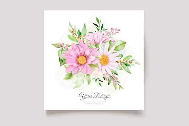 Margherita disegnata a mano acquerello floreale e foglie set di biglietti d'invito