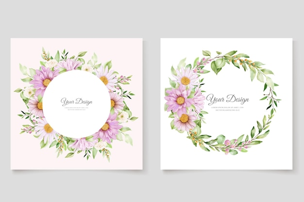 Hand drawn daisy watercolor floral and leaves invitation card set