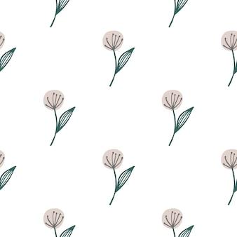 白い背景で隔離の手描きタンポポシームレスパターン。植物の壁紙。