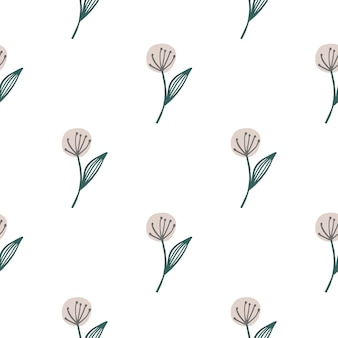 Hand drawn dandelion seamless pattern isolated on white background. botanical wallpaper.
