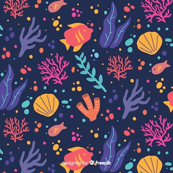 Hand drawn dark coral background