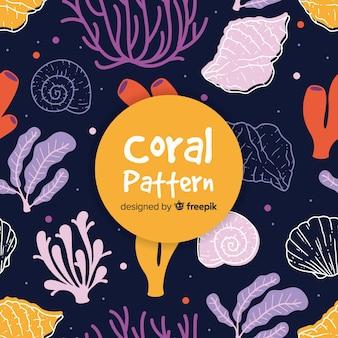 Fondo di corallo scuro disegnato a mano